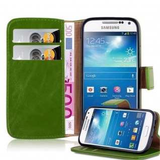 Cadorabo Hülle für Samsung Galaxy S4 MINI in GRAS GRÜN ? Handyhülle mit Magnetverschluss, Standfunktion und Kartenfach ? Case Cover Schutzhülle Etui Tasche Book Klapp Style
