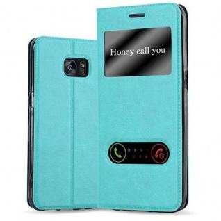 Cadorabo Hülle für Samsung Galaxy S7 EDGE in MINT TÜRKIS ? Handyhülle mit Magnetverschluss, Standfunktion und 2 Sichtfenstern ? Case Cover Schutzhülle Etui Tasche Book Klapp Style - Vorschau 1