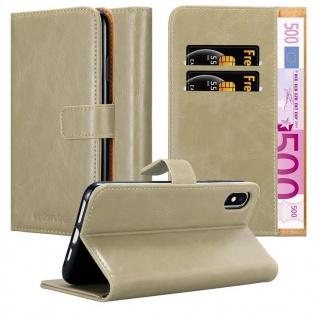 Cadorabo Hülle für Apple iPhone XS MAX in CAPPUCCINO BRAUN - Handyhülle mit Magnetverschluss, Standfunktion und Kartenfach - Case Cover Schutzhülle Etui Tasche Book Klapp Style