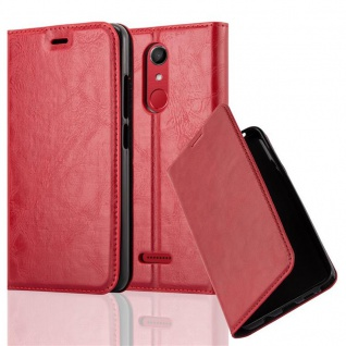Cadorabo Hülle für WIKO UPULSE in APFEL ROT - Handyhülle mit Magnetverschluss, Standfunktion und Kartenfach - Case Cover Schutzhülle Etui Tasche Book Klapp Style