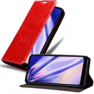 Cadorabo Hülle für LG Q60 in APFEL ROT Handyhülle mit Magnetverschluss, Standfunktion und Kartenfach Case Cover Schutzhülle Etui Tasche Book Klapp Style