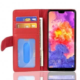 Cadorabo Hülle für Huawei P20 in INFERNO ROT Handyhülle mit Magnetverschluss und 3 Kartenfächern Case Cover Schutzhülle Etui Tasche Book Klapp Style