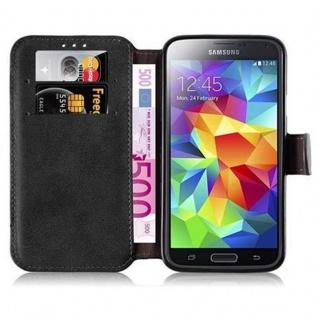 Cadorabo Hülle für Samsung Galaxy S5 / S5 NEO - Hülle in MATT SCHWARZ - Handyhülle mit Standfunktion und Kartenfach im Retro Design - Case Cover Schutzhülle Etui Tasche Book Klapp Style