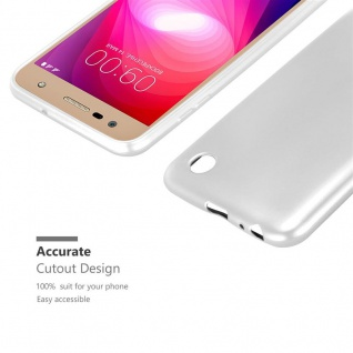 Cadorabo Hülle für LG X Power 2 in METALLIC SILBER - Handyhülle aus flexiblem TPU Silikon - Silikonhülle Schutzhülle Ultra Slim Soft Back Cover Case Bumper - Vorschau 5