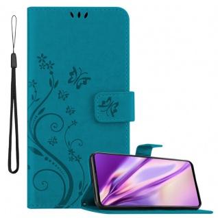Cadorabo Hülle für Samsung Galaxy A71 in FLORAL BLAU Handyhülle im Blumen Design mit Magnetverschluss, Standfunktion und 3 Kartenfächern Case Cover Schutzhülle Etui Tasche Book Klapp Style