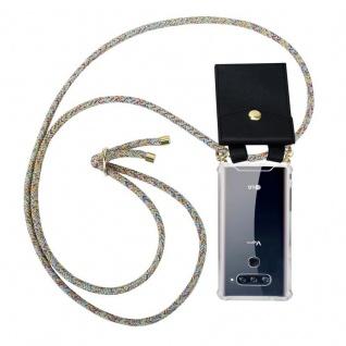 Cadorabo Handy Kette für LG V40 in RAINBOW Silikon Necklace Umhänge Hülle mit Gold Ringen, Kordel Band Schnur und abnehmbarem Etui Schutzhülle