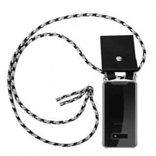 Cadorabo Handy Kette für Samsung Galaxy S10e in SCHWARZ CAMOUFLAGE - Silikon Necklace Umhänge Hülle mit Silber Ringen, Kordel Band Schnur und abnehmbarem Etui - Schutzhülle