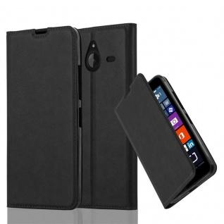 Cadorabo Hülle für Nokia Lumia 640 XL in NACHT SCHWARZ - Handyhülle mit Magnetverschluss, Standfunktion und Kartenfach - Case Cover Schutzhülle Etui Tasche Book Klapp Style