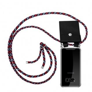 Cadorabo Handy Kette für Samsung Galaxy S8 PLUS in ROT BLAU WEISS - Silikon Necklace Umhänge Hülle mit Silber Ringen, Kordel Band Schnur und abnehmbarem Etui - Schutzhülle