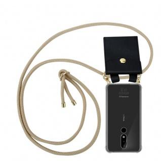 Cadorabo Handy Kette für Nokia 3.1 Plus in GLÄNZEND BRAUN Silikon Necklace Umhänge Hülle mit Gold Ringen, Kordel Band Schnur und abnehmbarem Etui Schutzhülle