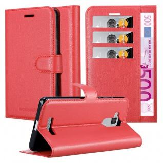 Cadorabo Hülle für Asus ZenFone 3 MAX (5, 2 Zoll) in KARMIN ROT - Handyhülle mit Magnetverschluss, Standfunktion und Kartenfach - Case Cover Schutzhülle Etui Tasche Book Klapp Style