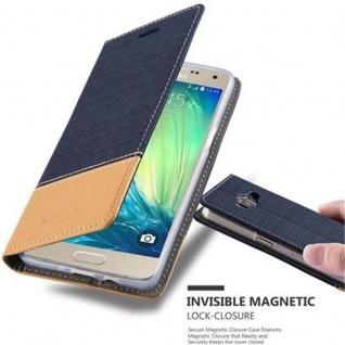 Cadorabo Hülle für Samsung Galaxy A5 2015 in DUNKEL BLAU BRAUN - Handyhülle mit Magnetverschluss, Standfunktion und Kartenfach - Case Cover Schutzhülle Etui Tasche Book Klapp Style