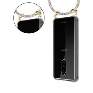 Cadorabo Handy Kette für Sony Xperia 1 in RAINBOW - Silikon Necklace Umhänge Hülle mit Gold Ringen, Kordel Band Schnur und abnehmbarem Etui ? Schutzhülle - Vorschau 5