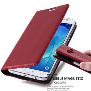 Cadorabo Hülle für Samsung Galaxy J5 2015 in APFEL ROT - Handyhülle mit Magnetverschluss, Standfunktion und Kartenfach - Case Cover Schutzhülle Etui Tasche Book Klapp Style