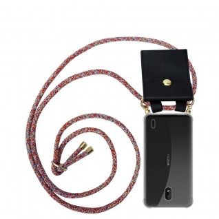 Cadorabo Handy Kette für Nokia 1 PLUS in COLORFUL PARROT - Silikon Necklace Umhänge Hülle mit Gold Ringen, Kordel Band Schnur und abnehmbarem Etui ? Schutzhülle