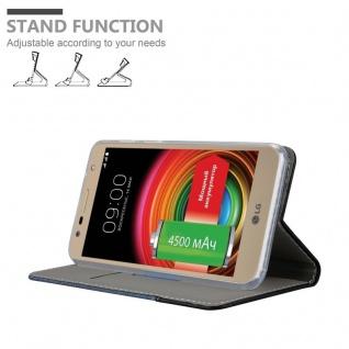 Cadorabo Hülle für LG X POWER 2 in DUNKEL BLAU SCHWARZ - Handyhülle mit Magnetverschluss, Standfunktion und Kartenfach - Case Cover Schutzhülle Etui Tasche Book Klapp Style - Vorschau 4