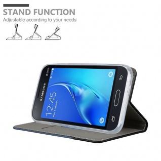 Cadorabo Hülle für Samsung Galaxy J1 MINI 2016 in DUNKEL BLAU SCHWARZ - Handyhülle mit Magnetverschluss, Standfunktion und Kartenfach - Case Cover Schutzhülle Etui Tasche Book Klapp Style - Vorschau 4