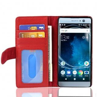 Cadorabo Hülle für Sony Xperia XA2 in INFERNO ROT Handyhülle mit Magnetverschluss und 3 Kartenfächern Case Cover Schutzhülle Etui Tasche Book Klapp Style