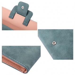 Cadorabo - Universal 2-in-1 Geldbeutel in Wildleder-Optik mit integriertem Smartphone Fach, 10 Kartenfächern, 2 Fächer für Geldscheine und Druckknopf-Schließe - Clutch Damenbörse Accessoire Damen Tasche Hülle Cover in PASTELL BLAU - Vorschau 4