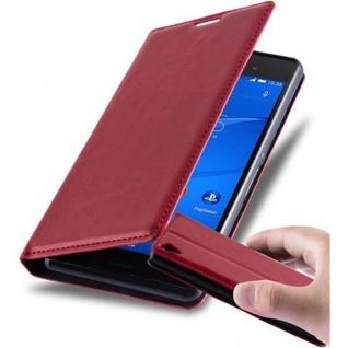 Cadorabo Hülle für Sony Xperia Z3 in APFEL ROT Handyhülle mit Magnetverschluss, Standfunktion und Kartenfach Case Cover Schutzhülle Etui Tasche Book Klapp Style