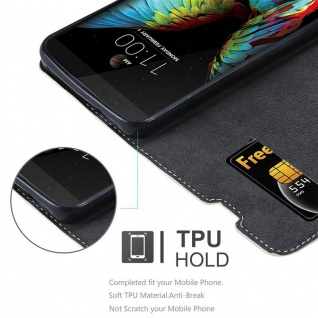 Cadorabo Hülle für LG K10 2016 in ROSÉ GOLD SCHWARZ ? Handyhülle mit Magnetverschluss, Standfunktion und Kartenfach ? Case Cover Schutzhülle Etui Tasche Book Klapp Style