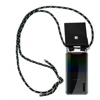 Cadorabo Handy Kette für Samsung Galaxy A90 5G in CAMOUFLAGE Silikon Necklace Umhänge Hülle mit Silber Ringen, Kordel Band Schnur und abnehmbarem Etui Schutzhülle