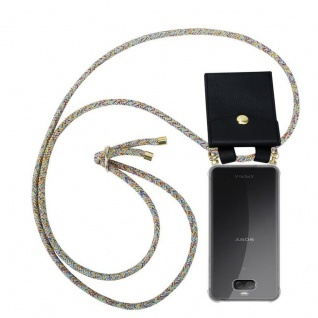 Cadorabo Handy Kette für Sony Xperia 10 PLUS in RAINBOW Silikon Necklace Umhänge Hülle mit Gold Ringen, Kordel Band Schnur und abnehmbarem Etui Schutzhülle
