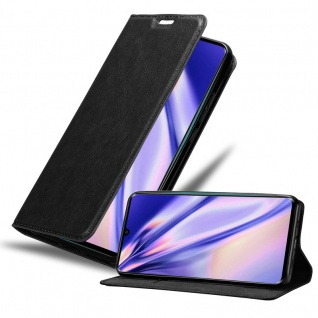 Cadorabo Hülle für Xiaomi RedMi NOTE 10 in NACHT SCHWARZ Handyhülle mit Magnetverschluss, Standfunktion und Kartenfach Case Cover Schutzhülle Etui Tasche Book Klapp Style