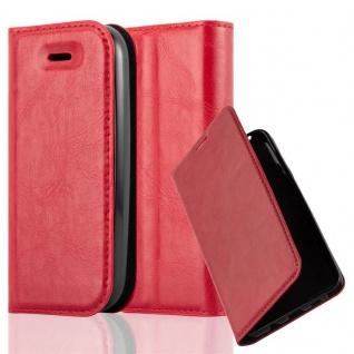 Cadorabo Hülle für Nokia 105 DUAL in APFEL ROT Handyhülle mit Magnetverschluss, Standfunktion und Kartenfach Case Cover Schutzhülle Etui Tasche Book Klapp Style