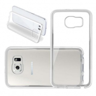 Cadorabo Hülle für Samsung Galaxy S6 - Hülle in TRANSPARENT mit CHROM SILBER ? Handyhülle aus TPU Silikon im Chrom Design - Silikonhülle Schutzhülle Ultra Slim Soft Back Cover Case Bumper
