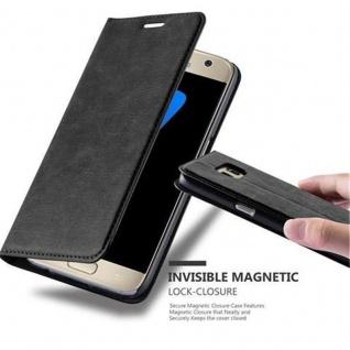 Cadorabo Hülle für Samsung Galaxy S7 in NACHT SCHWARZ Handyhülle mit Magnetverschluss, Standfunktion und Kartenfach Case Cover Schutzhülle Etui Tasche Book Klapp Style