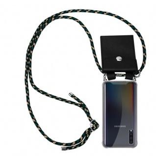 Cadorabo Handy Kette für Samsung Galaxy A50 in CAMOUFLAGE - Silikon Necklace Umhänge Hülle mit Silber Ringen, Kordel Band Schnur und abnehmbarem Etui - Schutzhülle