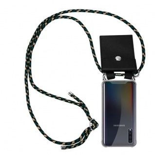 Cadorabo Handy Kette für Samsung Galaxy A50 in CAMOUFLAGE Silikon Necklace Umhänge Hülle mit Silber Ringen, Kordel Band Schnur und abnehmbarem Etui Schutzhülle