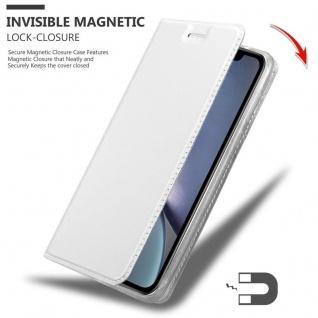 Cadorabo Hülle für Apple iPhone XR in CLASSY SILBER - Handyhülle mit Magnetverschluss, Standfunktion und Kartenfach - Case Cover Schutzhülle Etui Tasche Book Klapp Style - Vorschau 3
