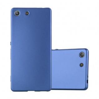 Cadorabo Hülle für Sony Xperia M5 in METALLIC BLAU - Handyhülle aus flexiblem TPU Silikon - Silikonhülle Schutzhülle Ultra Slim Soft Back Cover Case Bumper