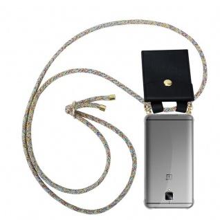 Cadorabo Handy Kette für OnePlus 3 / 3T in RAINBOW - Silikon Necklace Umhänge Hülle mit Gold Ringen, Kordel Band Schnur und abnehmbarem Etui ? Schutzhülle