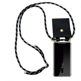 Cadorabo Handy Kette für OnePlus 6T in SCHWARZ SILBER Silikon Necklace Umhänge Hülle mit Gold Ringen, Kordel Band Schnur und abnehmbarem Etui Schutzhülle