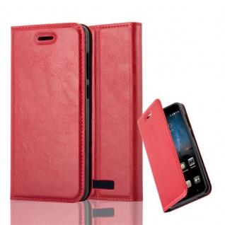 Cadorabo Hülle für ZTE BLADE A612 in APFEL ROT Handyhülle mit Magnetverschluss, Standfunktion und Kartenfach Case Cover Schutzhülle Etui Tasche Book Klapp Style