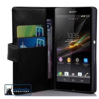 Cadorabo Hülle für Sony Xperia Z (1. Gen.) in KAVIAR SCHWARZ ? Handyhülle aus glattem Kunstleder mit Standfunktion und Kartenfach ? Case Cover Schutzhülle Etui Tasche Book Klapp Style