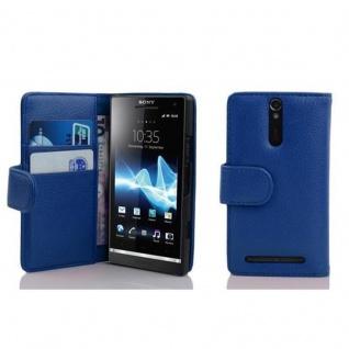 Cadorabo Hülle für Sony Xperia S in KÖNIGS BLAU - Handyhülle aus strukturiertem Kunstleder mit Standfunktion und Kartenfach - Case Cover Schutzhülle Etui Tasche Book Klapp Style - Vorschau 1