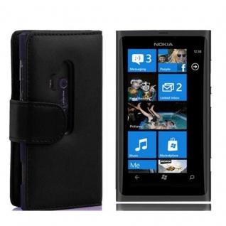 Cadorabo Hülle für Nokia Lumia 800 in KAVIAR SCHWARZ Handyhülle aus glattem Kunstleder mit Standfunktion und Kartenfach Case Cover Schutzhülle Etui Tasche Book Klapp Style