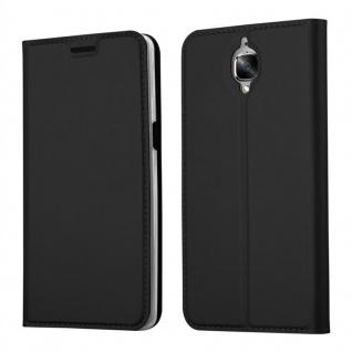 Cadorabo Hülle für OnePlus 3 / 3T in CLASSY SCHWARZ - Handyhülle mit Magnetverschluss, Standfunktion und Kartenfach - Case Cover Schutzhülle Etui Tasche Book Klapp Style