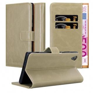 Cadorabo Hülle für Sony Xperia XA1 PLUS in CAPPUCCINO BRAUN ? Handyhülle mit Magnetverschluss, Standfunktion und Kartenfach ? Case Cover Schutzhülle Etui Tasche Book Klapp Style
