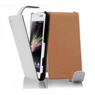 Cadorabo Hülle für Sony Xperia C in MAGNESIUM WEIß - Handyhülle im Flip Design aus strukturiertem Kunstleder - Case Cover Schutzhülle Etui Tasche Book Klapp Style