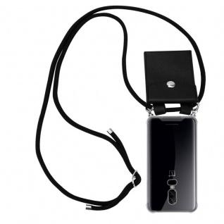 Cadorabo Handy Kette für OnePlus 6 in SCHWARZ Silikon Necklace Umhänge Hülle mit Silber Ringen, Kordel Band Schnur und abnehmbarem Etui Schutzhülle