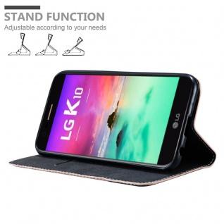 Cadorabo Hülle für LG K10 2017 in ROSÉ GOLD SCHWARZ ? Handyhülle mit Magnetverschluss, Standfunktion und Kartenfach ? Case Cover Schutzhülle Etui Tasche Book Klapp Style - Vorschau 4