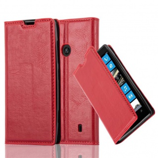 Cadorabo Hülle für Nokia Lumia 520 in APFEL ROT - Handyhülle mit Magnetverschluss, Standfunktion und Kartenfach - Case Cover Schutzhülle Etui Tasche Book Klapp Style