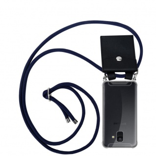 Cadorabo Handy Kette für Samsung Galaxy A6 2018 in TIEF BLAU Silikon Necklace Umhänge Hülle mit Silber Ringen, Kordel Band Schnur und abnehmbarem Etui Schutzhülle