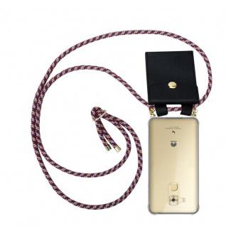 Cadorabo Handy Kette für Huawei NOVA PLUS in ROT GELB WEISS - Silikon Necklace Umhänge Hülle mit Gold Ringen, Kordel Band Schnur und abnehmbarem Etui ? Schutzhülle