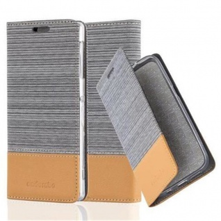 Cadorabo Hülle für Sony Xperia Z1 in HELL GRAU BRAUN - Handyhülle mit Magnetverschluss, Standfunktion und Kartenfach - Case Cover Schutzhülle Etui Tasche Book Klapp Style